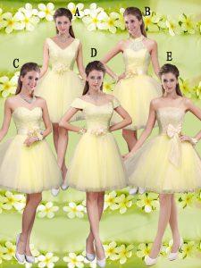 V-neck Sleeveless Tulle Bridesmaid Dresses Lace and Belt Lace Up