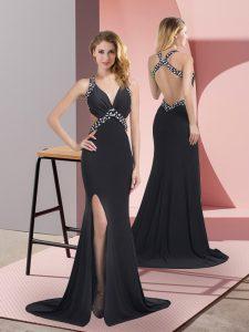 Black Halter Top Neckline Beading Evening Dress Sleeveless Criss Cross