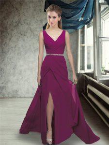 Fuchsia Bridesmaid Gown V-neck Sleeveless Brush Train Zipper