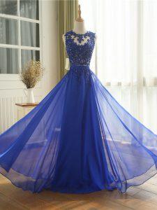 Cheap Scoop Sleeveless Zipper Prom Evening Gown Royal Blue Chiffon