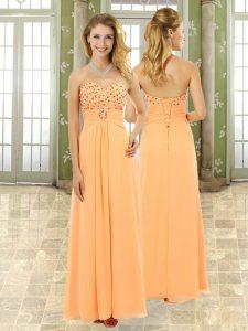 Smart Orange Empire Beading and Ruffles Homecoming Dress Lace Up Chiffon Sleeveless Floor Length