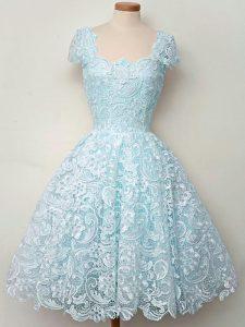 Straps Cap Sleeves Bridesmaids Dress Knee Length Lace Aqua Blue Lace