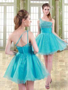 Fine Mini Length A-line Sleeveless Aqua Blue Casual Dresses Zipper