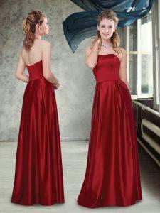 High Quality Strapless Sleeveless Damas Dress Floor Length Ruching Wine Red Taffeta