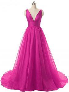 Sleeveless Brush Train Ruching Backless Oscars Dresses