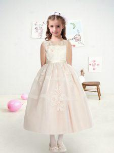 Bateau Sleeveless Zipper Flower Girl Dresses for Less White Tulle