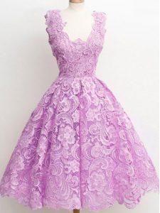 Lilac Zipper Wedding Party Dress Lace Sleeveless Knee Length