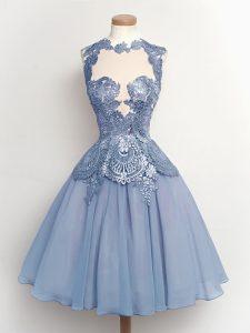 Extravagant Light Blue Lace Up High-neck Lace Bridesmaid Dress Chiffon Sleeveless