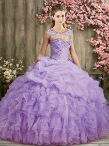 Lilac Lace Up 15th Birthday Dress Beading and Ruffles Sleeveless Sweep Train