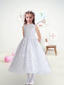 Tea Length White Flower Girl Dresses Bateau Sleeveless Zipper