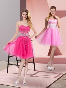 Sweetheart Sleeveless Zipper Hot Pink Tulle
