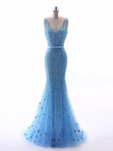 Stunning Baby Blue Mermaid V-neck Sleeveless Tulle Floor Length Zipper Beading and Belt and Hand Made Flower Evening Wea