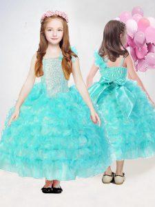 Sleeveless Ruffles and Sequins Side Zipper Little Girls Pageant Dress