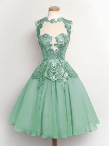 Dazzling High-neck Sleeveless Chiffon Damas Dress Lace Lace Up