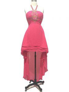 Enchanting Hot Pink Empire Halter Top Sleeveless Chiffon High Low Backless Beading