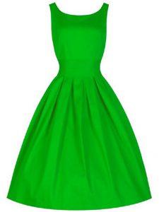 Green A-line Ruching Damas Dress Lace Up Taffeta Sleeveless Knee Length