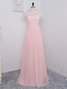 Cap Sleeves Zipper Floor Length Lace Wedding Guest Dresses