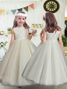 Custom Designed White Sleeveless Beading Floor Length Flower Girl Dresses for Less