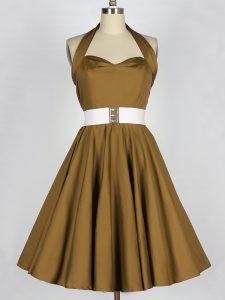 Knee Length Brown Court Dresses for Sweet 16 Taffeta Sleeveless Belt