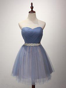 Great A-line Vestidos de Damas Blue Sweetheart Tulle Sleeveless Mini Length Lace Up