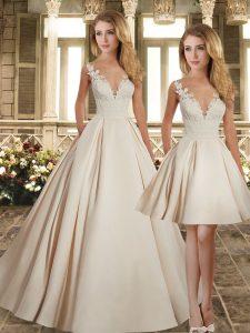 Champagne Sleeveless Brush Train Lace Wedding Dresses