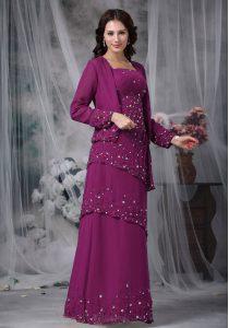 Purple Zipper Straps Beading Mother of Bride Dresses Chiffon Sleeveless