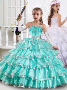 Floor Length Aqua Blue Little Girls Pageant Dress Organza Sleeveless Beading and Ruffles
