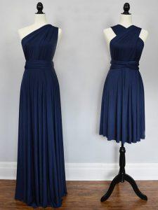 Halter Top Sleeveless Bridesmaids Dress Floor Length Ruching Navy Blue Chiffon