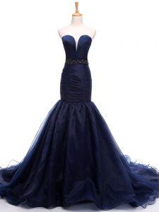 Customized Navy Blue Mermaid Tulle Sweetheart Sleeveless Beading and Ruching Lace Up Celebrity Inspired Dress Court Trai