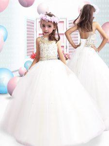 Popular Floor Length White Toddler Flower Girl Dress Scoop Sleeveless Lace Up