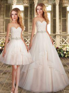 Smart White Sleeveless Beading Zipper Wedding Gowns