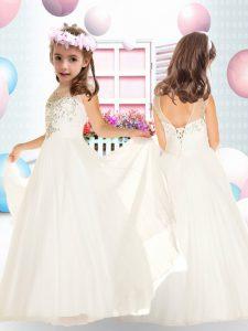 Delicate White Sleeveless Tulle Backless Flower Girl Dresses for Wedding Party