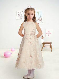 Luxurious A-line Flower Girl Dresses White Bateau Lace Sleeveless Tea Length Zipper