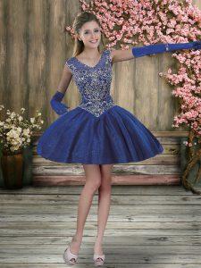 V-neck Sleeveless Prom Party Dress Mini Length Beading Royal Blue Tulle