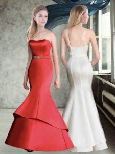 Red Sleeveless Belt Floor Length Vestidos de Damas