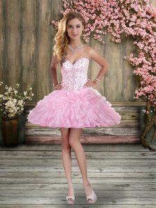 Beading and Ruffles Custom Made Rose Pink Lace Up Sleeveless Mini Length
