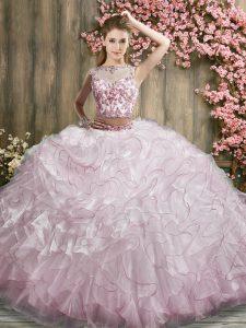 Glamorous Pink And White Bateau Zipper Beading and Ruffles 15 Quinceanera Dress Sweep Train Sleeveless