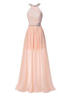 Beading Going Out Dresses Peach Backless Sleeveless Floor Length