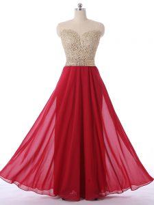 Floor Length Red Scoop Sleeveless Zipper