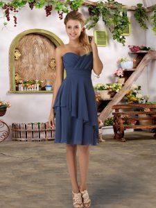 Custom Design Empire Court Dresses for Sweet 16 Navy Blue Sweetheart Chiffon Sleeveless Knee Length Zipper