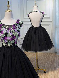 Elegant Black A-line Hand Made Flower Backless Tulle Sleeveless Mini Length