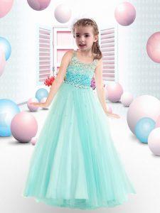 Amazing Beading Little Girl Pageant Dress Apple Green Zipper Sleeveless Floor Length