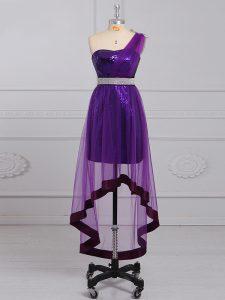 Sleeveless Beading Zipper Evening Dress with Purple