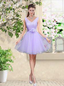 Knee Length A-line Sleeveless Lilac Vestidos de Damas Lace Up