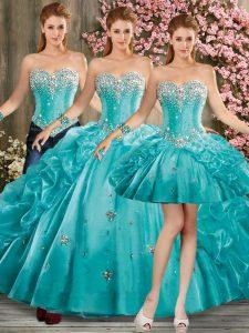 Smart Sleeveless Floor Length Beading and Pick Ups Lace Up Sweet 16 Dress with Aqua Blue