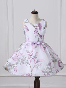 Great Multi-color Sleeveless Pattern Knee Length Little Girls Pageant Dress Wholesale