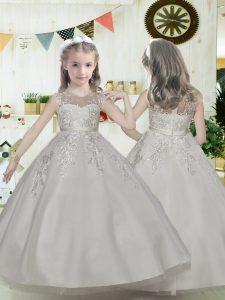 Floor Length White Flower Girl Dress Scoop Sleeveless Zipper