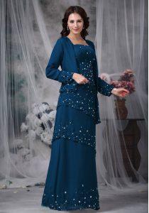 Custom Designed Sleeveless Zipper Floor Length Beading Mother of Bride Dresses