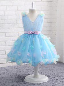 Excellent Knee Length Ball Gowns Sleeveless Baby Blue Kids Pageant Dress Zipper