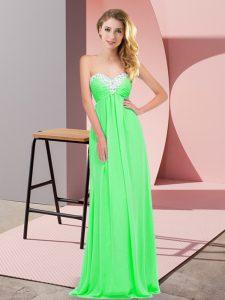 Decent Floor Length Apple Green Chiffon Sleeveless Ruching